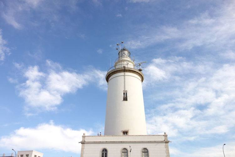 Low angle view of lighthouse against sky