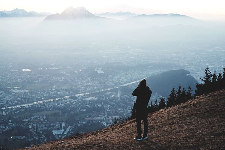 Winter days Horizon Mountains Fog Haze Salzburg Austria Gaisberg Photographer Men Black Hipster Nature Fujifilm FUJIFILM X-T1 Hill Outdoors Cold City Arial Shot
