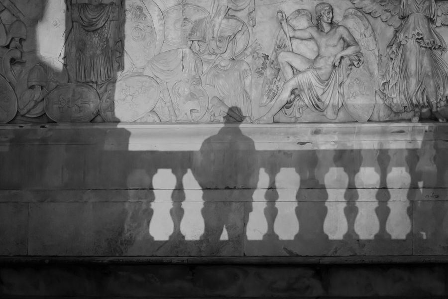 Shadows and lights, between present and past. Ancient Legend Man Man With Hat Past Art Bas-relief Blackandwhite History Human Representation Light And Shadow Mythological No People Relief Sculpture Roman Sculpture Sculptures Statue Story The Man