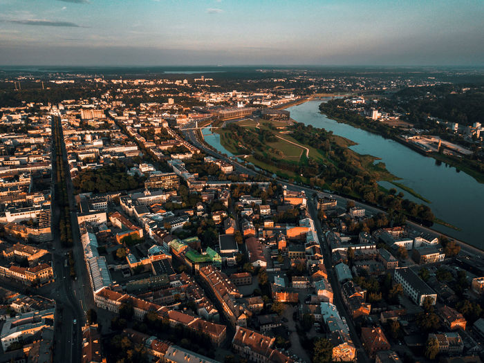 Lietuva Lithuania Aerial View Architecture Bridge - Man Made Structure Building Building Exterior Built Structure City City Life Cityscape Crowded High Angle View Kaunas Nature Nemunas Office Building Exterior Outdoors Residential District River Sky Skyscraper Transportation Water