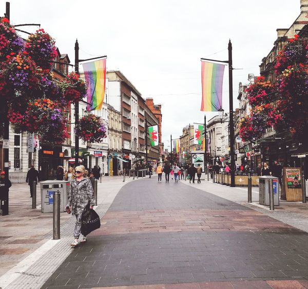 Pride on its way Streetphotography Street City Life Cityflower Prideparade Prideflag Shopping ♡ Cardiff Wales❤ Chilling City Multi Colored Neon Sky Building Exterior Architecture City Street High Street