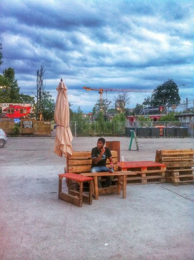 Taco stand in a concrete oasis in the middle of a city. RAW. Raw Discover Your City Berlin Clouds And Sky
