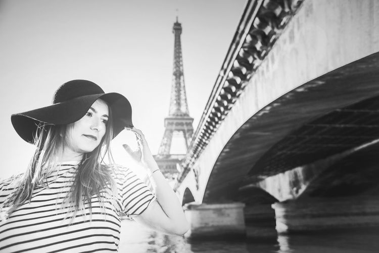 Artistic and natural portrait of beautiful woman in the nature. Woman Face Portrait Beautiful Beauty Smile Female Girl Young Hair Natural Nature Outdoors Skin White Happy Attractive Background Lifestyle Fashion Cute Black And White Hat Paris Eiffel Tower Architecture Built Structure Connection Lifestyles Togetherness Real People Women Young Women Travel Destinations Young Adult City Adult Leisure Activity Bridge Casual Clothing Bridge - Man Made Structure Bonding Tourism Love Positive Emotion Hairstyle