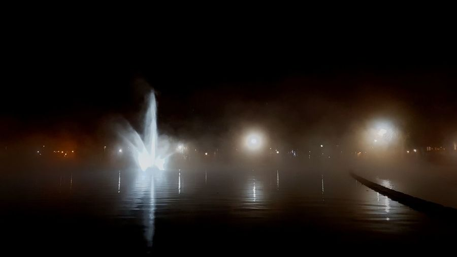 Foggy Water Night No People Outdoors City