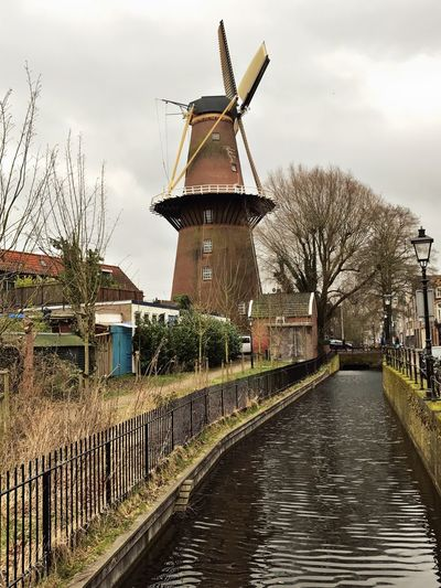 Windmill Utrecht , Netherlands Water Street Sky And Clouds Molen