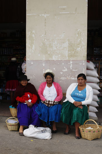 Sitting Full Length Front View Looking At Camera Portrait Food And Drink Men Togetherness Adult Group Of People Food Women Container Child Males  Indoors  Basket Females Smiling Cuenca Ecuador