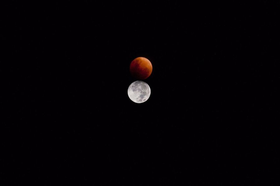 Super Blue Blood Moon Double Exposure EyeEm Best Edits EyeEm Best Shots Moon Full Moon Copy Space Astronomy Planetary Moon Moon Surface Nature Beauty In Nature No People Tranquil Scene Night Tranquility Clear Sky Scenics Space Outdoors
