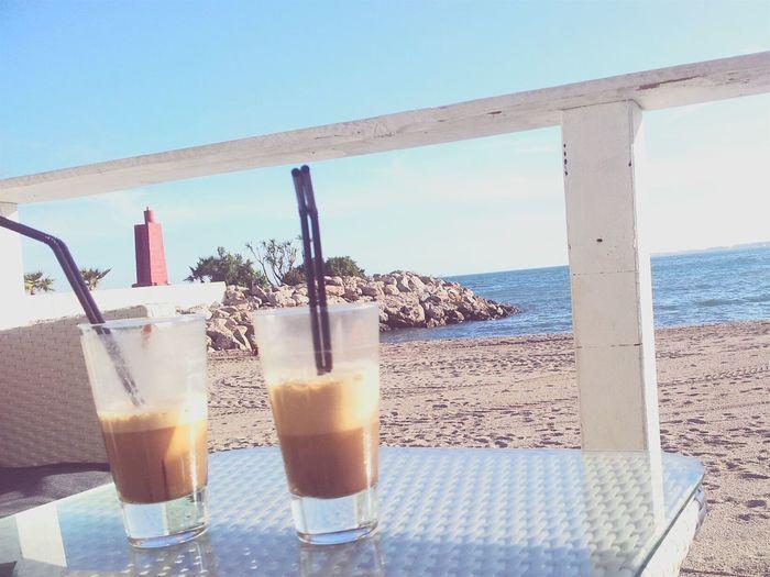 Good Company Have A Nice Day♥ Conversation Sunny Day Coffeetime Sunshine Guy Bestfriend Sandcastles Enjoying The Sun Almería