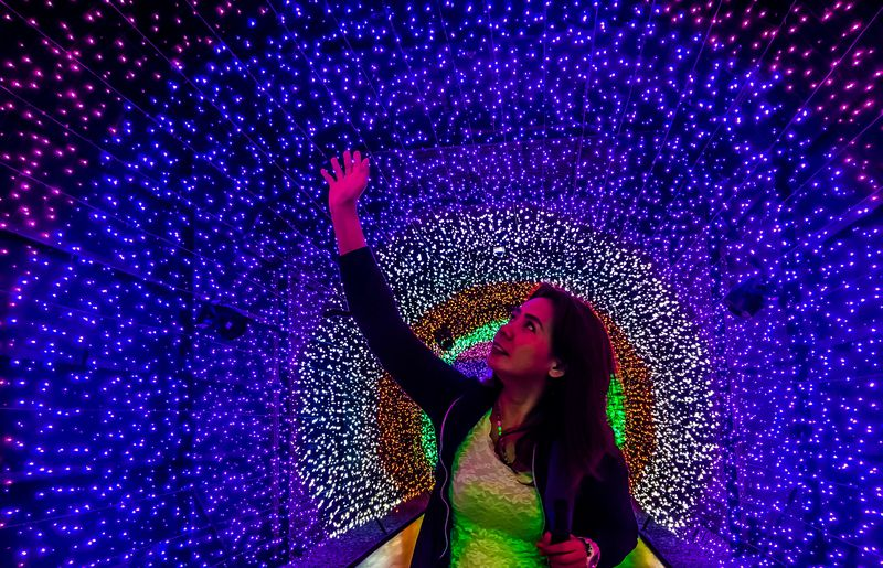 Feel the light Arms Raised Night Human Body Part Human Arm Purple Happiness One Person Illuminated Nightlife One Woman Only
