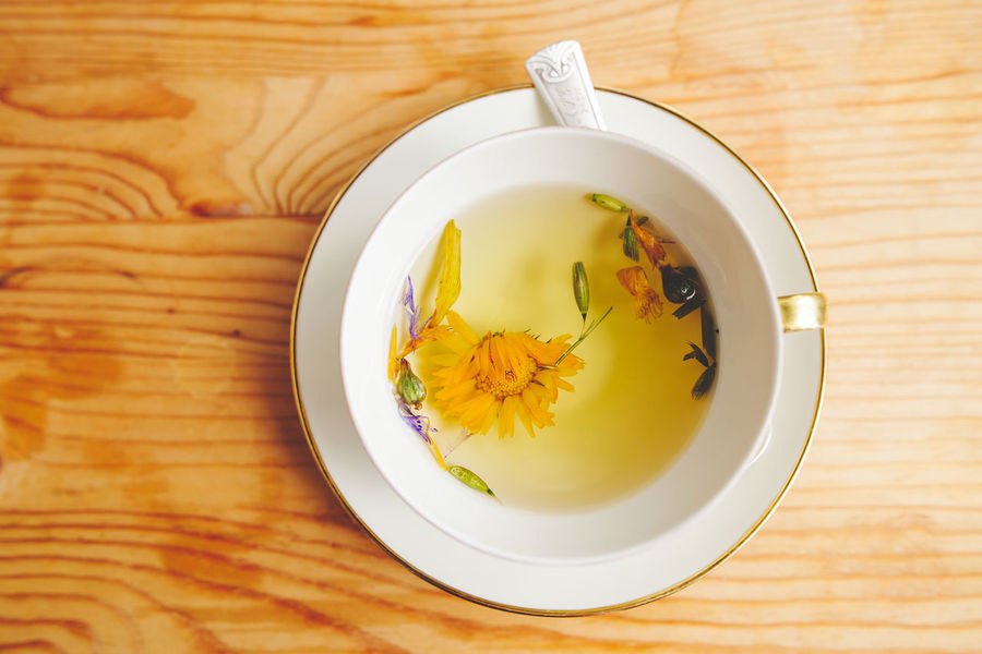 Diet Tea Dandelion Directly Above Fasting Flower Head Food And Drink Freshness Healing Herbs Healthy Healthy Lifestyle Herbal Tea High Angle View Organic Table Tea - Hot Drink Tea Cup