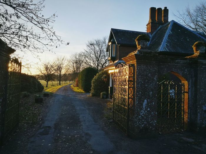 Sunset Sky Tree Outdoors Day gatehouse Kinordy Estate Kirriemuir Countryside Gentry Road Architecture Iron Gates