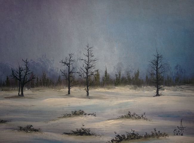"""As you all know we don't have Snow in Los Angles so I decided to paint and feel the cold and the snow ,oil on canvas ,18""""_24"""". Nature Sky Tree Beauty In Nature Tranquility Landscape Scenics Pine Woodland Snowflake Art, Drawing, Creativity Drawing Creativity Oil Painting Fine Art My Art Colllection Tranquillity My Best Friends ❤ Freedom Friendship. ♡   Love ♥ Koi."""