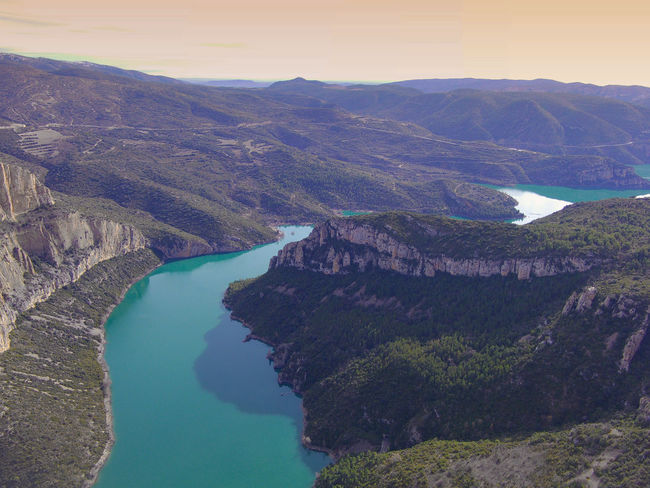 Drone  Nogera Pallaresa River Gorge In The Region Of La Noguera Province Of Lérida Train Of The Lakes Route From Lérida To The Seu Of Urgell Beauty In Nature Day Drone Photography Mountain Nature No People Outdoors Physical Geography River Scenics Sky Tranquility Travel Destinations Water