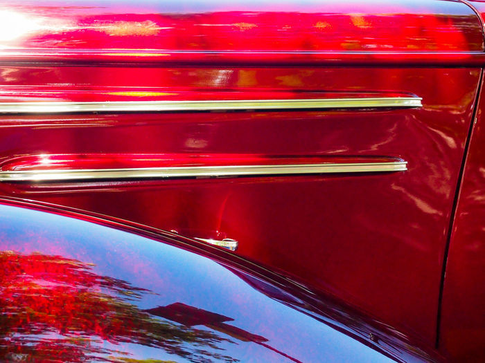 two stripes Oldtimer Red Car Motor Vehicle Backgrounds Close-up Reflection Day Transportation Metal No People Outdoors Stripes Pattern Gold Colored