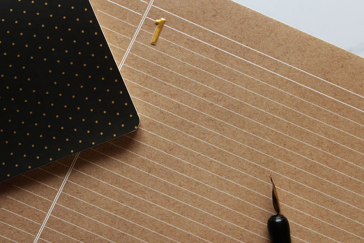 New year, new day Business Calligraphy Copy Space Date Desk Kraft Paper New Office Planning Polka Dots  Working Above Agenda Backgrounds Calendar Communication Fountain Pen Lined Paper Memo Month Notebook Number One Pen Year