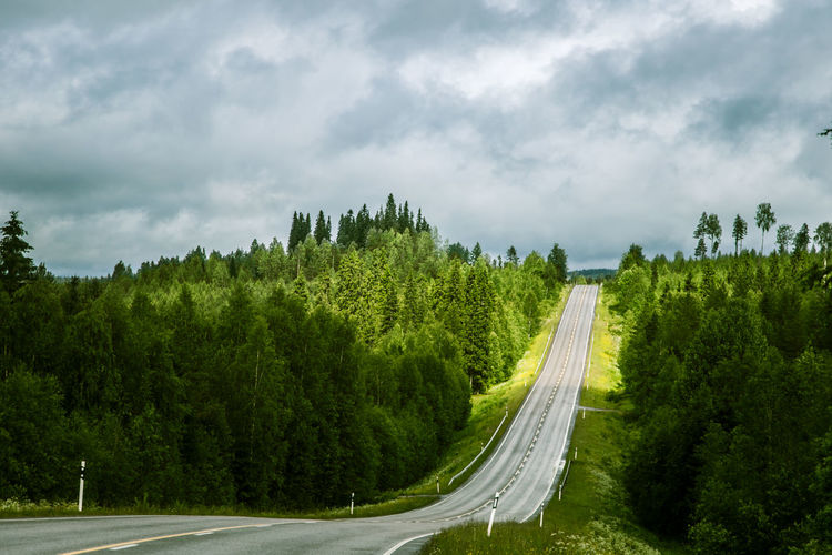 Panoramic Shot Of Road Amidst Trees Against Sky