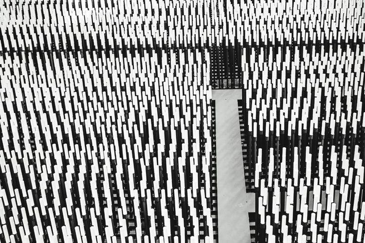 Pattern Backgrounds Full Frame No People Day Close-up High Angle View Outdoors Repetition Textured  Architecture White Color Fence Built Structure Striped In A Row Barrier