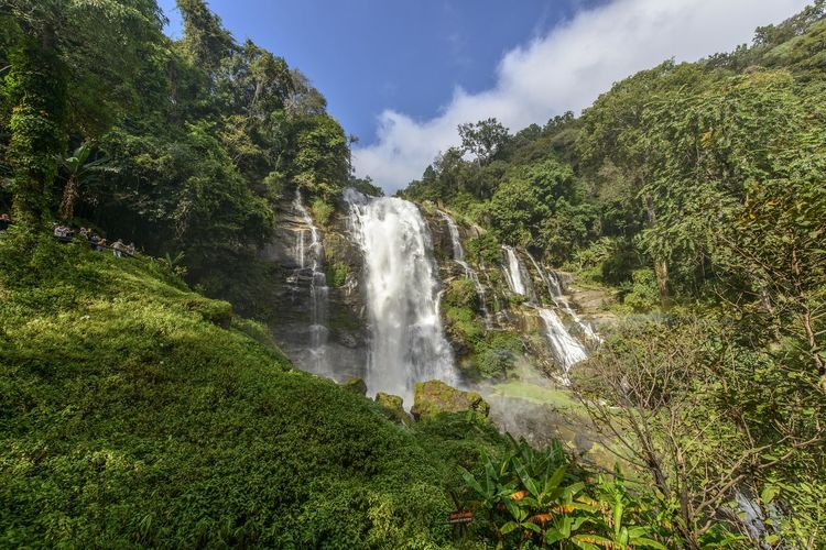 Wachirathan Waterfall Plant Beauty In Nature Scenics - Nature Waterfall Tree Land Growth Green Color Motion Nature Water Environment Forest Sky Long Exposure Flowing Water No People Cloud - Sky Non-urban Scene Outdoors Rainforest Flowing Power In Nature