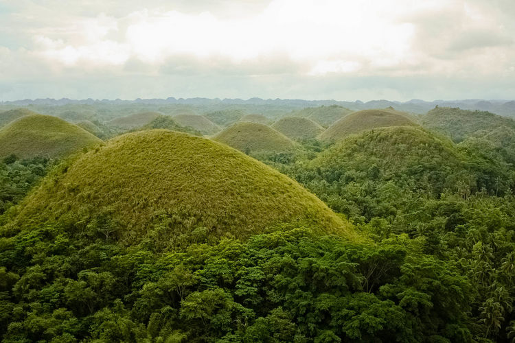 ASIA Beauty In Nature Chocolate Hills Chocolate Hills Bohol Philippines Cloud - Sky Green Color Greenery Growth Hills Landscape Mountain Nature No People Outdoors Scenics Sky Southeast Asia Tranquil Scene Tranquility Travel Travel Destinations Tree