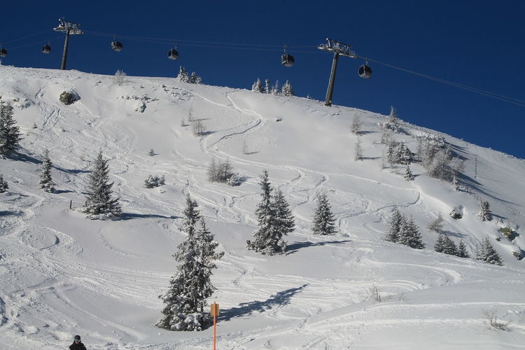 Overhead Cable Cars Over Snow Covered Mountain