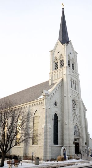 Beautiful Church Bare Tree Snowy Ground Midwest Winters Painted White Catholic Church Old Architecture Religion Place Of Worship Architecture Spirituality Built Structure Building Exterior EyeEmNewHere Low Angle View Outdoors History Day Clear Sky No People City Tree Sky Travel Destinations