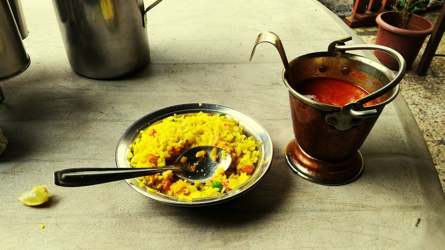 having breckfast 😋 Breakfast Poha Sambhar Cheer Yellow Spicy Red Delicious Tasty😋 Lemon Twist In Taste Peanuts Flakes Rich Food Healthy Eating Energizing Morning Rituals Hunger Hot Food Spicy Food Eat Eat And Eat Alone Enjoying Own Company Loved This Shot Stomach Calling , having breckfast at Pune , Incredible India 😍😘😊
