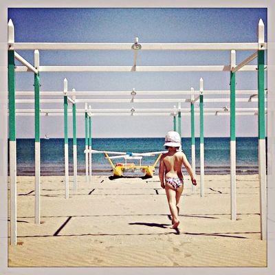 Beach Geometry Kids Sea my daughter catwalking to the sea.