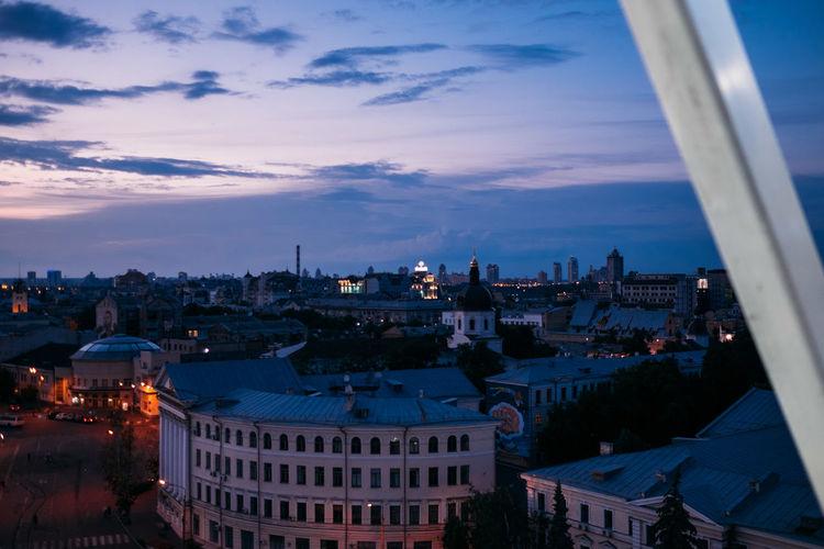 Kiev Kyiv Architecture Building Exterior Built Structure City Sky Cloud - Sky Building Cityscape High Angle View Nature Crowd Travel Destinations Crowded Dusk Residential District Sunset Place Of Worship Settlement Podol Podil подол Контрактовая площадь Почтовая площадь