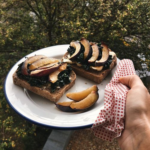 Cropped image of hand holding fresh plum sandwich served in plate