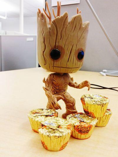 Groot likes Reese's cups <3 Lootcrate Groot Geeking Bobblehead