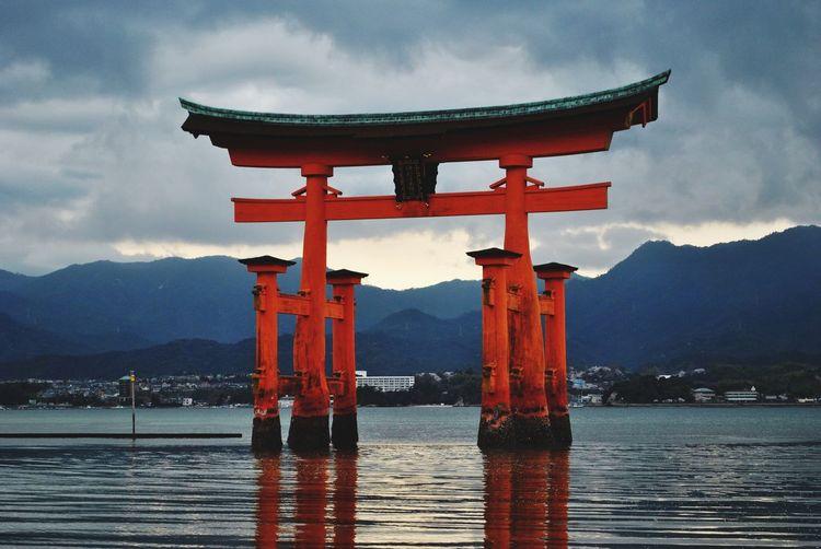 View of torii gate of itsukushima shrine