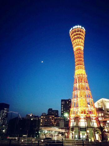 Kobe Kobetower Kobeporttower Japan Built In 1963 Hyogo Prefecture Nikkensekkei 108metre 8floor HuaweiP9 Huaweiphotography Latticetower Taken In 2017 Night City Illuminated Architecture No People Peaceful Moment