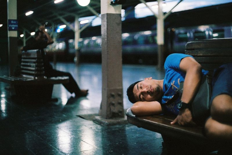 Photo Film Film Sleeping Streetphotography Real People Lifestyles Men Incidental People Relaxation Adult Leisure Activity Portrait Focus On Foreground Lying Down Males  Night Emotion