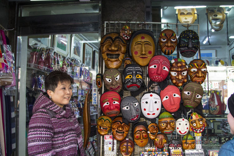 Masks Seoul South Korea Traditional Culture Traditional Clothing Beautiful Woman Clothes Clothing Colorful Day Insadong Masks Arts And Crafts Smiling Street Fashion Street Style Streetphotography Traditional Traditional Mask Women Only Young Girls