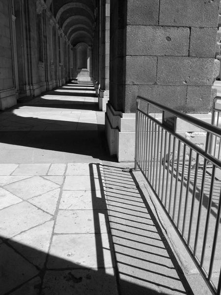 LIGHTS AND SHADOWS Architecture Architectural Column Light And Shadow Bkackandwhite Madrid Spain No People Shadow Built Structure