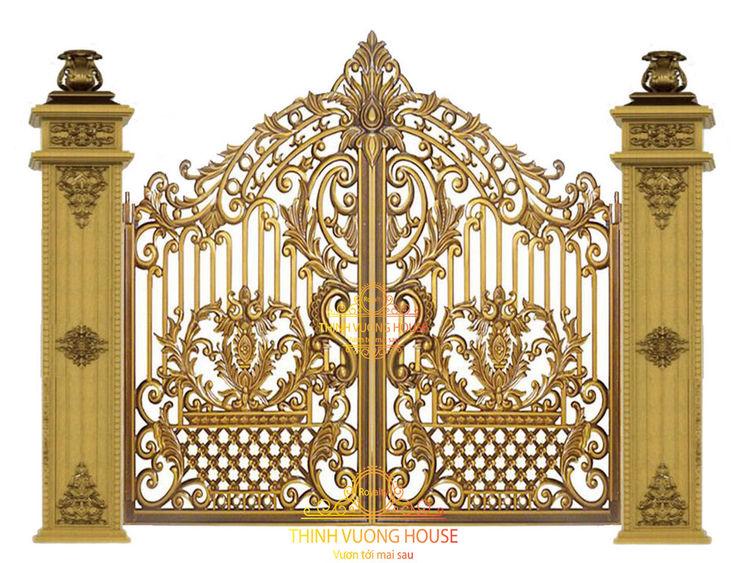 """Với độ cứng bền, chắc chắn khiện sự han gỉ phai màu phải chịu thua """"phẩm chất"""" tuyệt vời của cửa cổng biệt thự Thịnh Vượng House. Cửa Cổng Biệt Thự"""