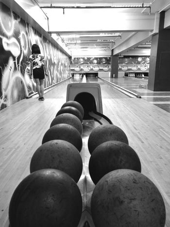 Saturday Indoors  Sport Bowling Alley Bowling Monochrome Ball