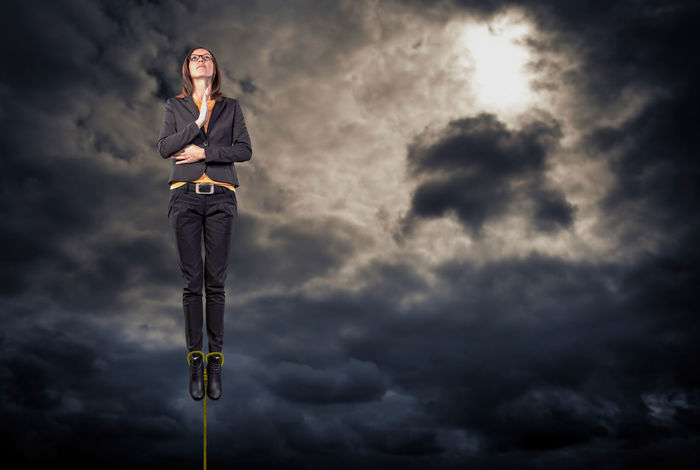 portrait of a business woman at levitating in the relaxing pose Adult Adult, Background, Beautiful, Beauty, Business, Businesswoman, Caucasian, Confident, Corporate, Customer, Face, Female, Females, Free, Girl, Job, Levitating, Looking, Office, One, People, Person, Portrait, Pretty, Professional, Relax, Service, Smile, Standing, Stress, Stress, Success, Suit, Support, White, Woman, Work, Worker, Working, Young Business Business Person Cloud - Sky Communication Conquering Adversity Digital Composite Front View Full Length Low Angle View Nature Ominous One Person Overcast Sky Storm Storm Cloud Suit Well-dressed Young Adult