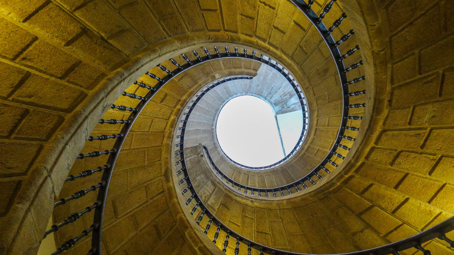 ezefer Architecture Built Structure Staircase Spiral Steps And Staircases Spiral Staircase Railing Low Angle View No People Day Pattern Indoors  Design Building Shape Nature History The Past Sky Directly Below Santiago De Compostela Camino De Santiago CaminodeSantiago