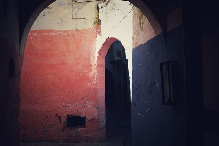 Morocco Photos Architectural Column Arch Alley Light And Shadow Back Street Built Structure Taking Photos Travel Door Tourism Miro Miro Alley Red Architecture No People Day Indoors  Close-up Outdoors Morocco My Point Of View
