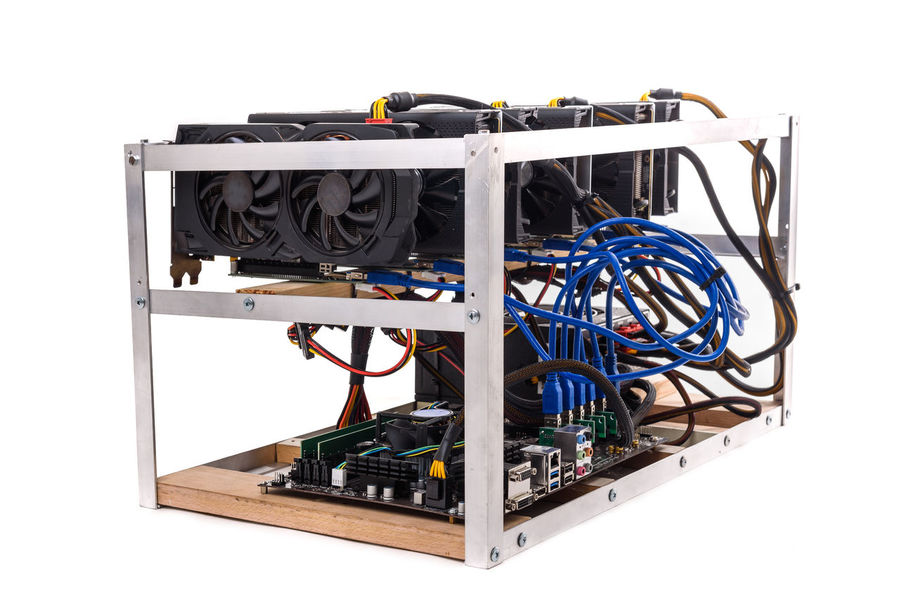 Cryptocurrency bitcoin ethereum altcoin graphic card miner mining rig. Home made crypto currency mining equipement in aluminium case with motherboard, graphic cards and PCIe powered extender risers. Altcoins Extender GPU Mining Graphic Homemade Mining Rig Aluminium Bitcoin Cable Cards Crypto Currency Cryptocurrency Cryptocurrency Miner Cryptocurrency Mining Ether Ethereum Miner Ethereum Mining Gpu Graphic Card Miner Mining Motherboard Power Supply Riser Risers
