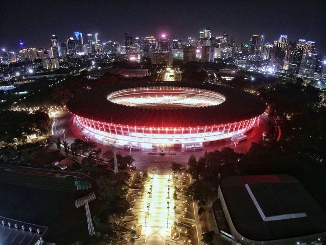 Gelora Bung Karno (GBK) Stadium EyeEm Best Shots EyeEmNewHere EyeEm Selects Drone  Dronephotography Midrone Lowlight Lowlightphotography Aerial View Night Illuminated Arts Culture And Entertainment Outdoors Architecture Built Structure No People HUAWEI Photo Award: After Dark