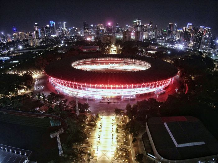 Gelora Bung Karno (GBK) Stadium EyeEm Best Shots EyeEmNewHere EyeEm Selects Drone  Dronephotography Midrone Lowlight Lowlightphotography Aerial View Night Illuminated Arts Culture And Entertainment Outdoors Architecture Built Structure No People