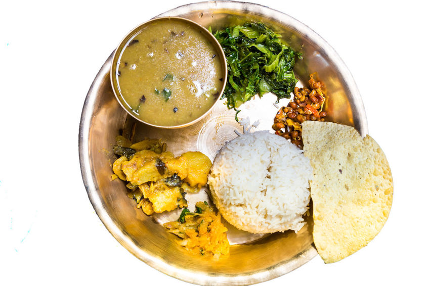 Rice - Food Staple Nepalese Food Ready-to-eat Curry Dal Bhat Platter Poppadom Lentils Traditional Meal Indian Food