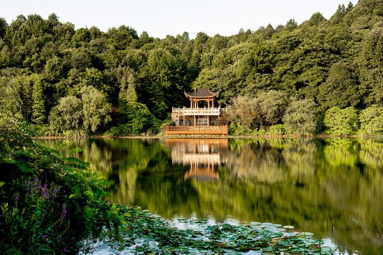 Scenic view of temple by a lake