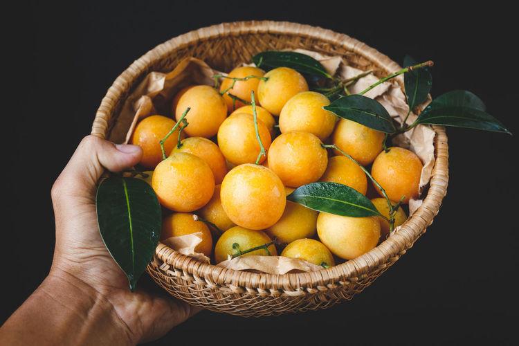 Cropped hand holding fruits in basket over black background