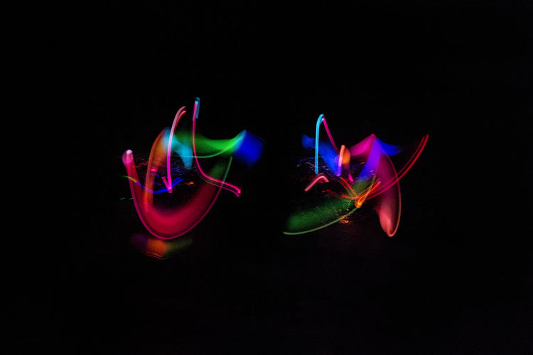 Bright Bright Colors Colors Creative Light And Shadow Creativity Light Light Painting Lights Shape Abstract Art Black Background Colorful Illuminated Light Streaks Long Exposure Multi Colored Neon Night