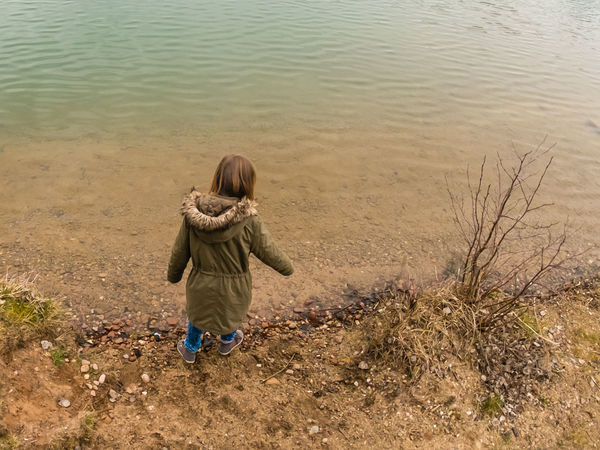 Autumn Autumn Colors EyeEm Nature Lover Beauty In Nature Childhood Day Fall Girl Lakeside Nature One Person Outdoors People Real People Rear View Sand Water Young Women