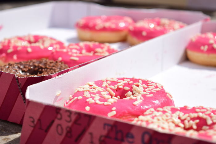 Pink Close-up Donut Doughnuts Food Food And Drink No People Pink Donut Pink Doughnut Ready-to-eat Tray EyeEmNewHere