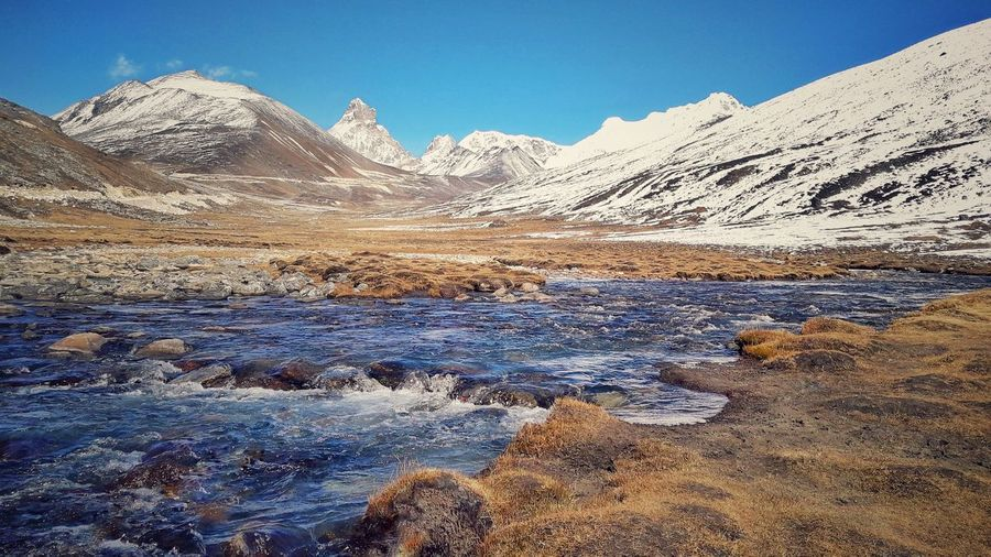 outdoors mountain sky sikkim sunny day mountain range landscape stream snow Travel Photography Cold blue stream.. EyeEmNewHere EyeEm Nature Lover Outdoors Mountain Sky Sikkim Sunny Day Mountain Range Landscape Stream Snow Travel Photography Finding New Frontiers Tranquil Scene Scenics